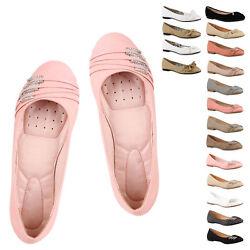 Klassische Damen Ballerinas Strass Flats Modische Schuhe 810453 New Look