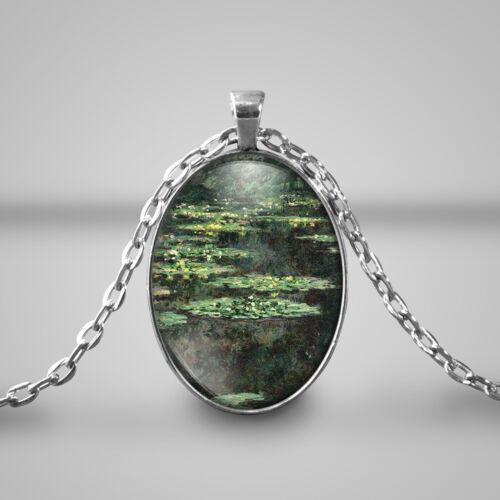 Monet Seerosen grüne Halskette Kunst-Geschenk-Glasoval Cameo Kette