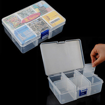 Clear 6 Compartments Portable Container Organizer Tools Jewelry beads Case