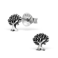Sterling Silver Tree of Life Ear Studs oxidized