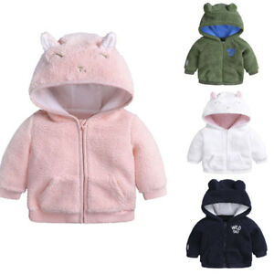 US Newborn Infant Baby Boys Girl Ear Hooded Pullover Winter Warm Clothes Coat