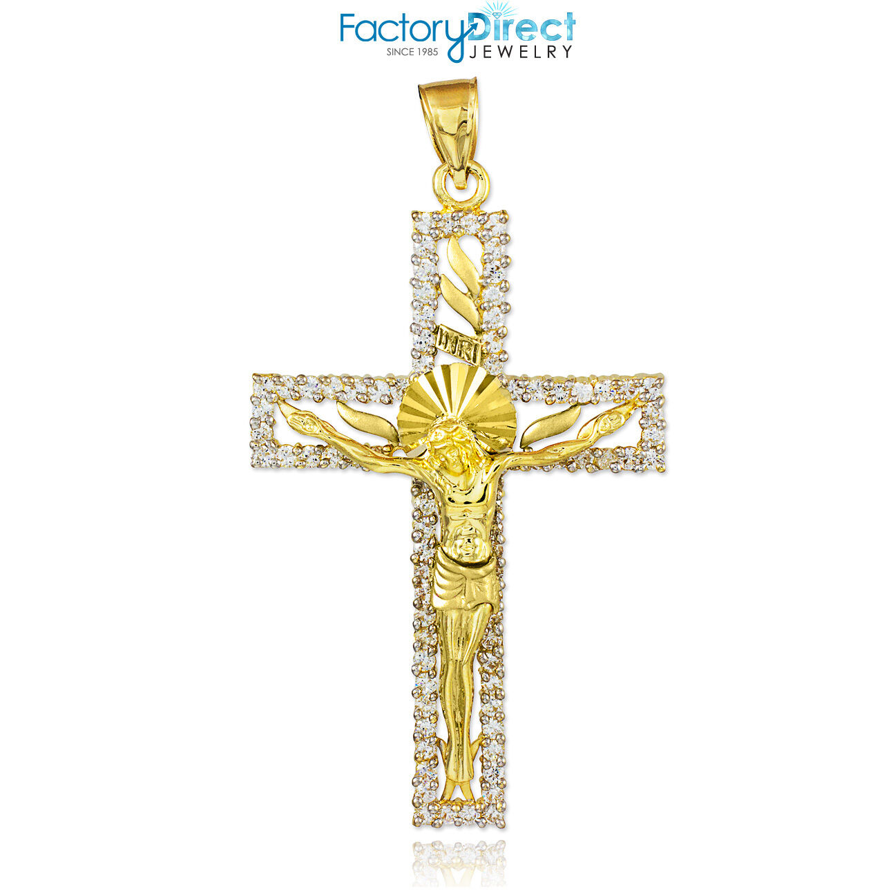 Solid gold CZ Crucifix Pendant
