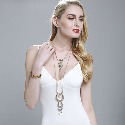 New Charm Fashion Bohemia Multilayer Chain Turquoise Pendant Long Chain Necklace