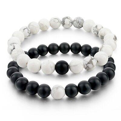 2pcs/Set Balanced Howlite Matte Black & White Beaded Bracelets for Lovers Couple