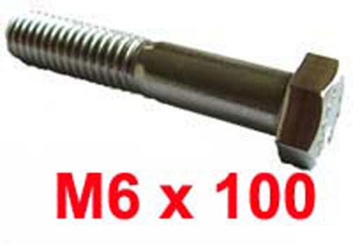 M6 x 100 IN ACCIAIO INOX BULLONI shanked 6mm x 100mm INOX HEX Bulloni X10