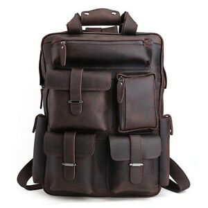 Men/'s Real Leather Carry On Backpack Laptop Bag Travel Large Hiking Camping New