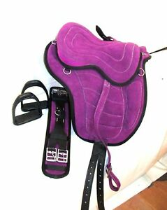 Details about New Synthetic All Purpose Treeless Saddle Purple pony 12