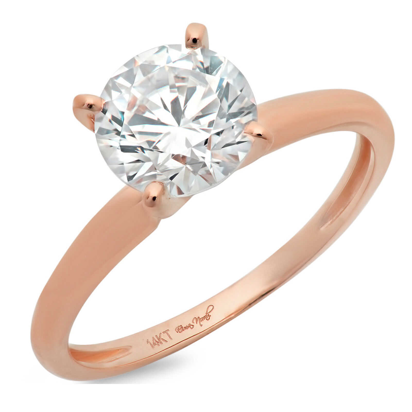 3.1ct Round Anniversary Engagement Bridal 4-prong Solitaire Ring 14k pink gold