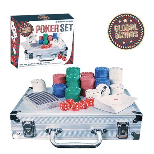 200pc Texas Hold/'Em Poker Chip Set 2 Decks Playing Cards 5 Dice Aluminium Case