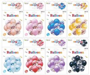 Lot-de-10-confettis-ballons-Latex-10-034-decorations-a-L-039-helium-Fete-D-039-anniversaire-Mariage