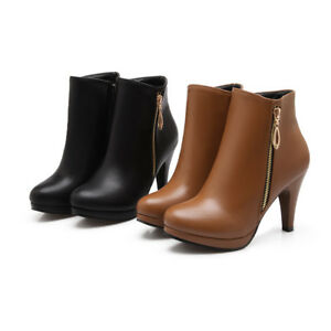 Women-039-s-Synthetic-Leather-Ankle-Boots-High-Heel-Platform-Shoes-US-Size-2-14-O930