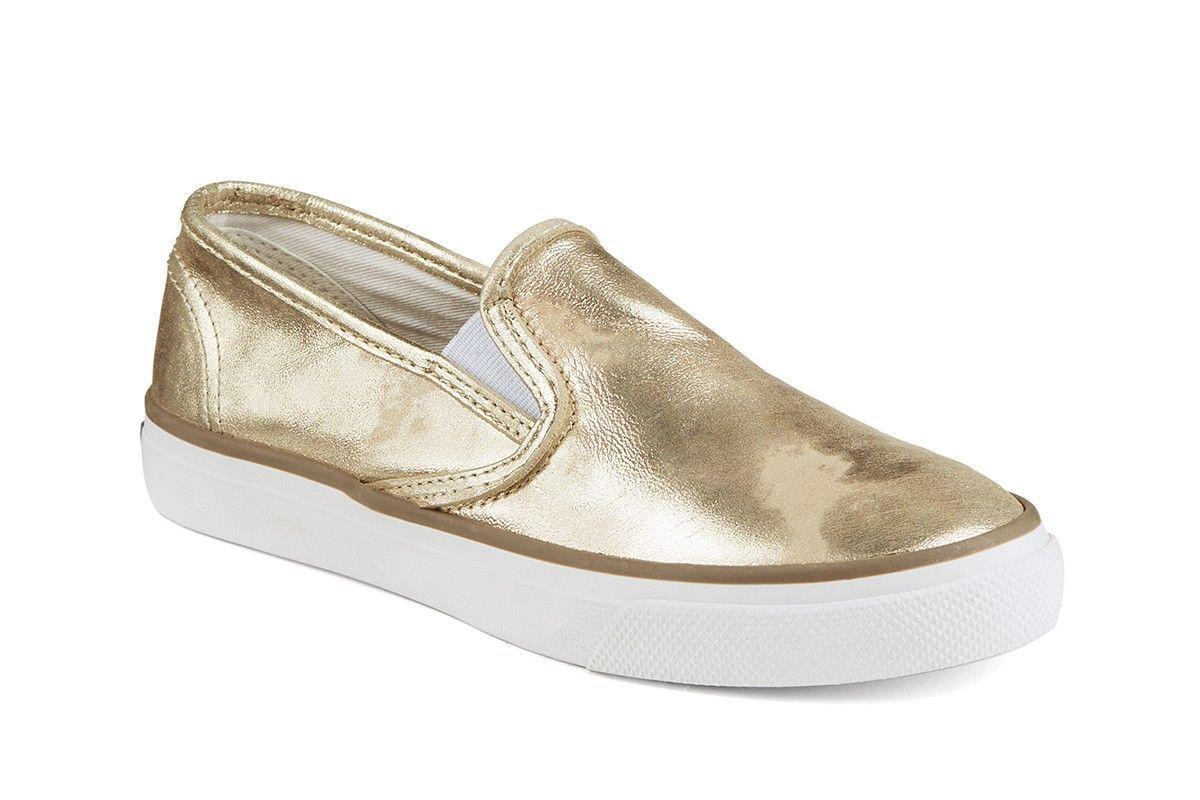 Sperry Seaside Platinum Metallic Leather Slip-On Sneakers Women's Size 12M NEW