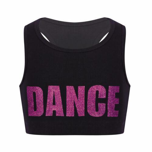 Kids Girls Crop Top Basic Dance Bra Tops Sport Gym Workout Performing Tanks Tops