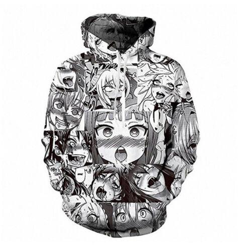 Ahegao Face Hoodie Hentai Manga Mens Sweatshirt Anime 3D Printed Pullover Jumper