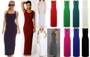 New-Womens-Ladies-Jersey-Racer-Back-Sleeveless-Long-Vest-Maxi-Dress-8-26-Plus