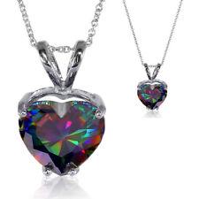 Fiery Rainbow Mystic Topaz 5.38ct Heart Cut CZ Pendant Necklace Sterling Silver