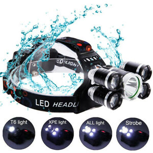 80000LM-5-Head-CREE-XM-L-T6-LED-18650-Headlamp-Headlight-Flashlight-Torch-Light