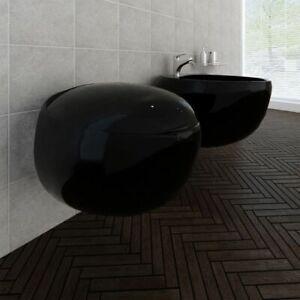 vidaXL-Set-WC-e-Bidet-da-Parete-in-Ceramica-Nera-Sanitari-Bagno-Water-e-Bide
