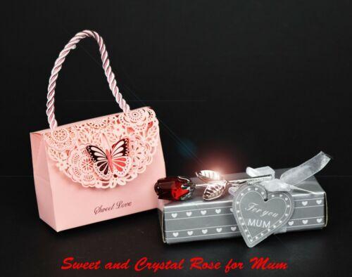 Mères Jour Cadeau Cristal Taillé /& Métal ROSE avec Fudge et TOFFEE Sweet