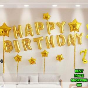 Large-034-HAPPY-BIRTHDAY-034-Party-Baloons-Decoration-Foil-Balloon-Gold-Self-Inflating