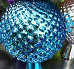 Grande Boule De Roses Boule Verre Antik Finish Turquoise Jardin Balle Jardin Paysans Argent-afficher Le Titre D'origine