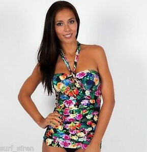 af9ff12c13cbe Image is loading Seafolly-Summer-Garden-Bandeau-Tie-Front-Halter-Tankini-