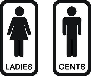 Toilet Signs 4 Set Of 2 Vinyl Ladies And Gents Door