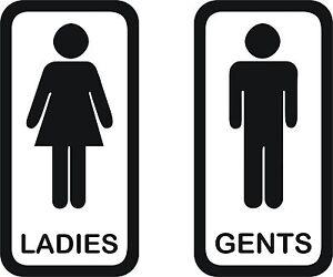 Image is loading Toilet-signs-4-Set-of-2-vinyl-ladies-