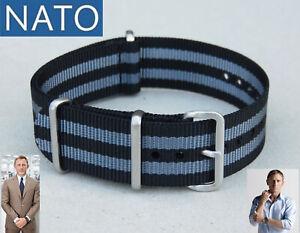 BRACELET-MONTRE-NATO-18mm-noir-gris-bond-chronograph-military-mechanical-watch