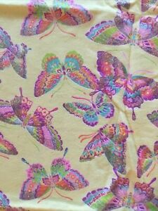 Butterfly-Fabric-Flannel-1yard-Yellow-Glittery-New