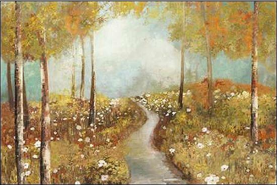 Allison Pearce  On the Hill Keilrahmen-Bild Leinwand Bäume Wald Weg herbst