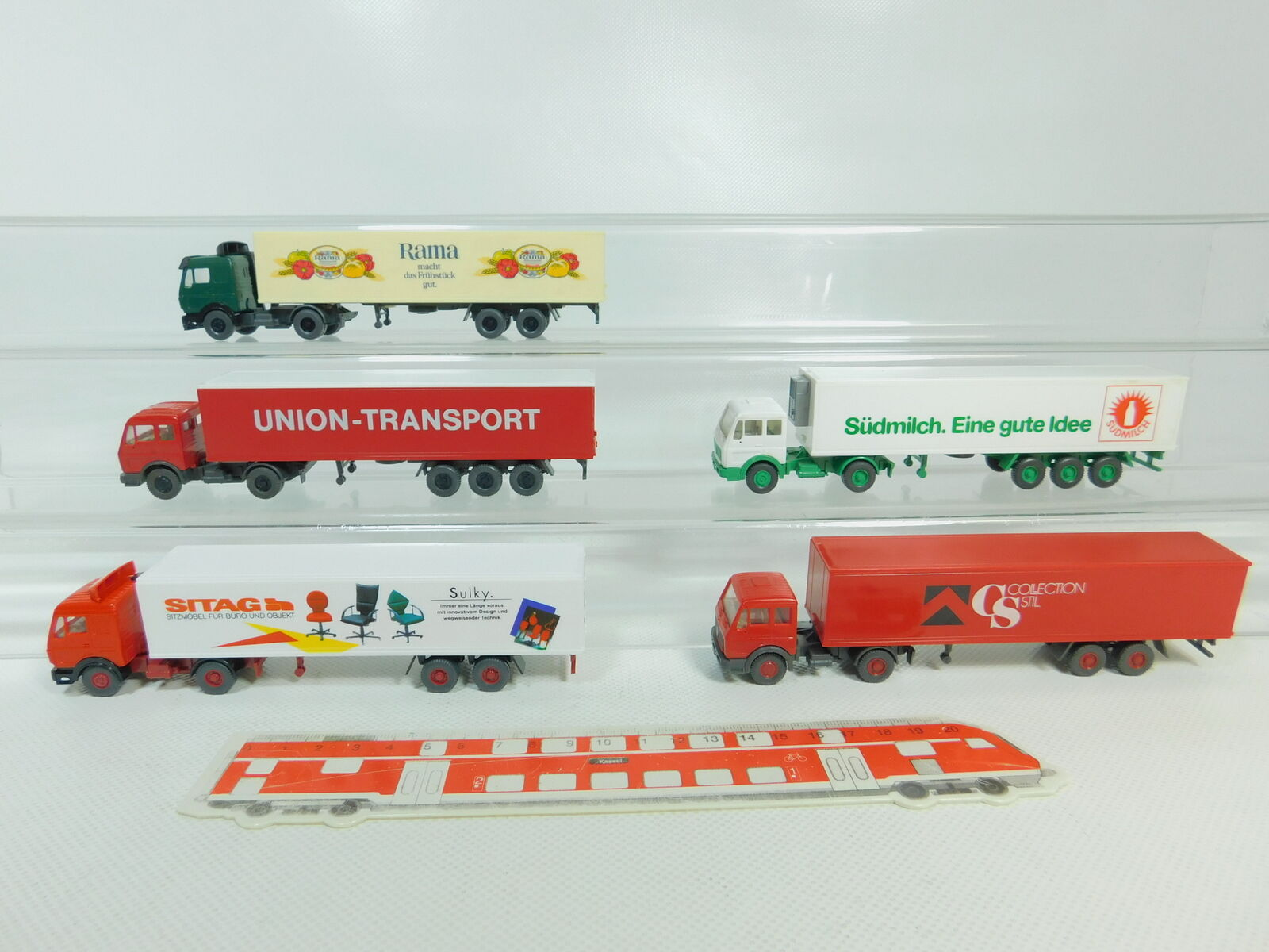 BO684-0, 5 x Wiking H0   1 87 Lorry MB  Sitag + Südmilch+Rama etc. , Very Good