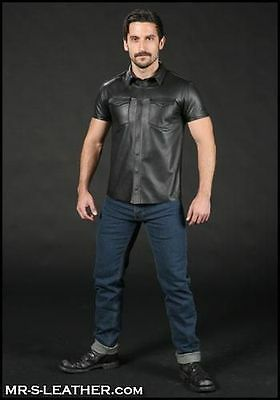 New Black Genuine Leder Leather Classic Leather Shirt Snap Closure Front Male