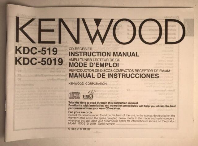Kenwood Cd Radio Instruction Owners Manual Kdc