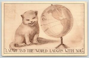 Cats-Fantasy-Face-Globe-Man-amp-Kitten-Laugh-amp-World-Laughs-With-You-1910-Postcard