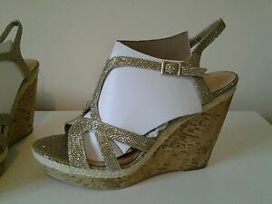 3de0a7a690e81 BNWT GOLD GLITTER STRAPPY WEDGE SHOES NEW-LOOK.SZ UK 8