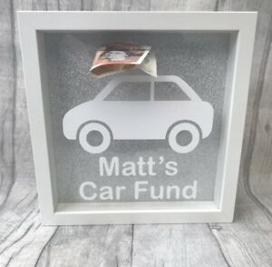 PERSONALISED-CAR-Fund-SAVING-MONEY-BOX-Frame-Present-Gift-Love-New-Car-1st-Car