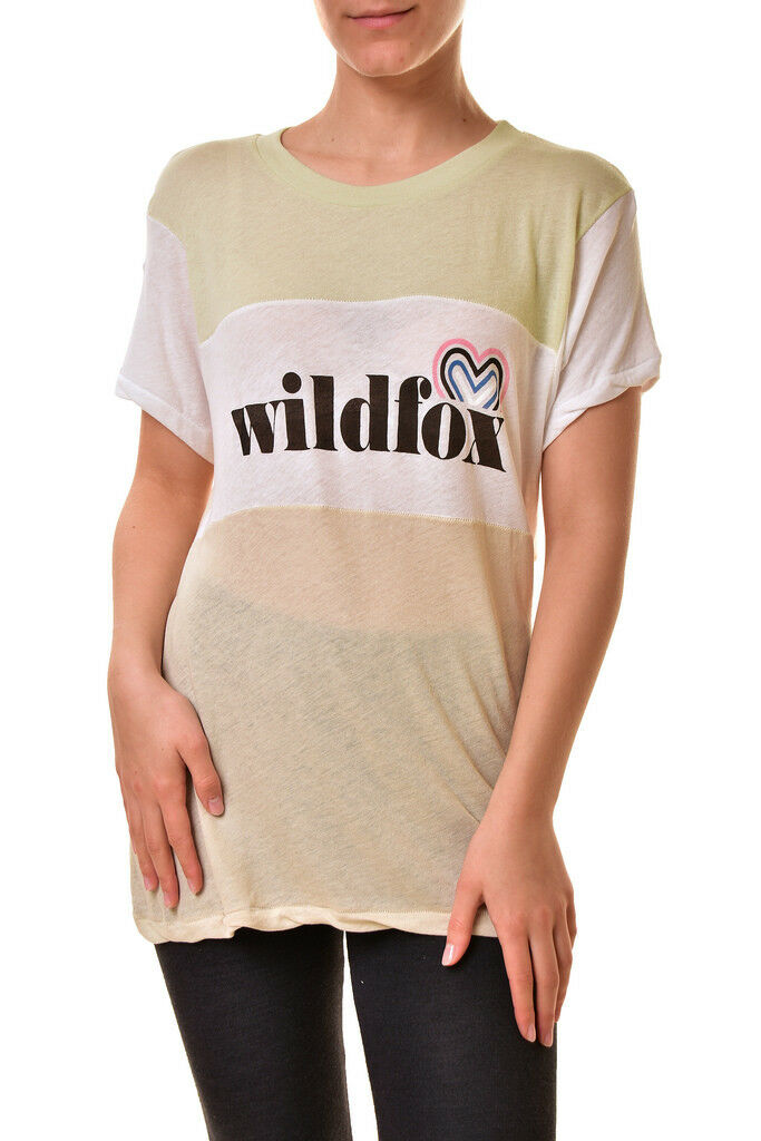Wildfox Damen Retro Fox Logo Legend Blockiertes T-Shirt Multi L UVP  BCF810