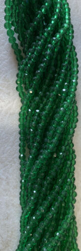 3mm Drk Green As Pictured Faceted Beads Exacly As Pictured 20 Strands 1000 Beads