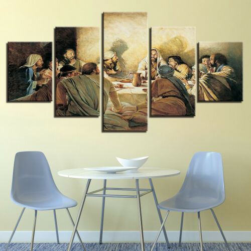 Last Supper Picture Jesus 5 Panel Canvas Print Wall Art Poster Home Decor