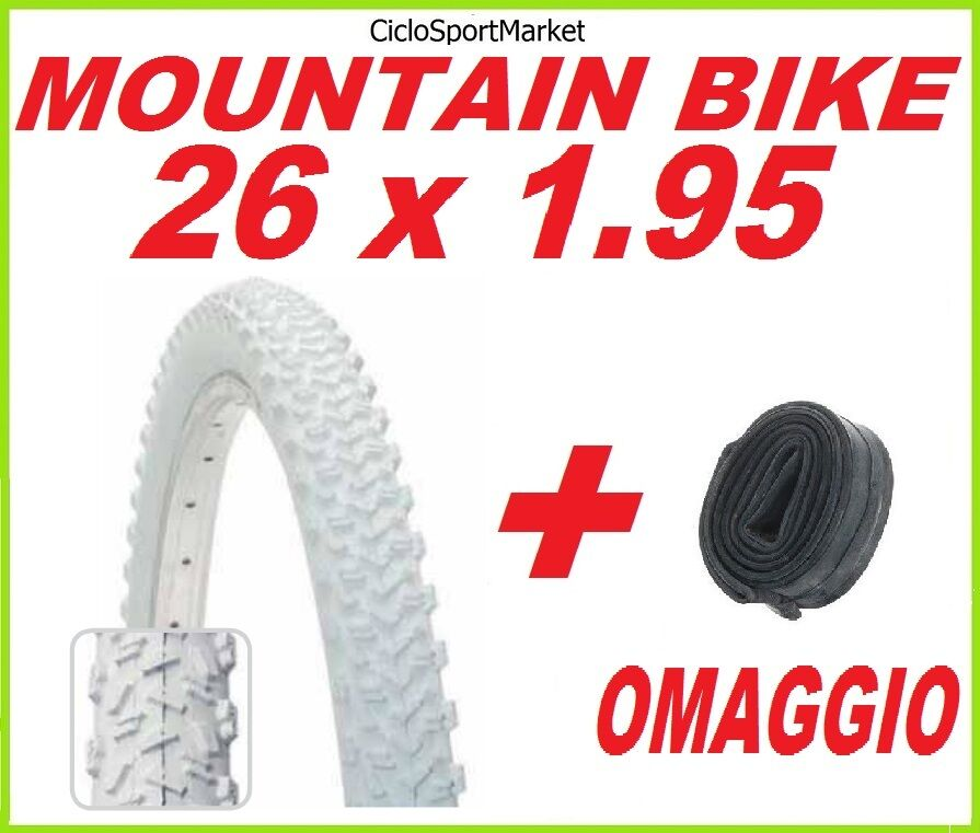 Tyre 26 Suitable for 1.95 WHITE Cycling MOUNTAIN BIKE + INNER TUBE FREE GIFT