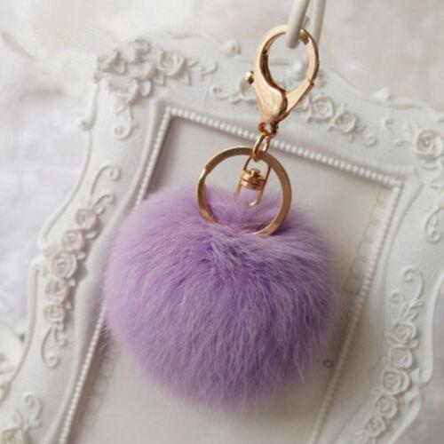 Handbag Key Ring Rabbit Fur Ball PomPom Cell Phone Car Pendant Keychain bw