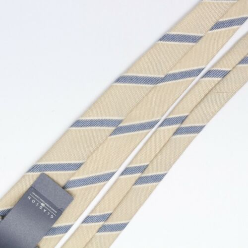 Josiah France Mens Wool Silk Necktie Beige Blue Cream Stripe Soft Weave Woven