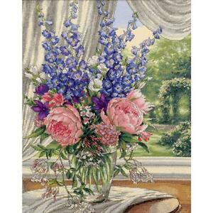 Counted Cross Stitch Kit PEONIES & DELPHINIUMS Dimensions Gold Collection