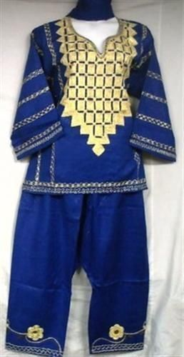 African Women Clothing Traditional Pant Suit Royal bluee gold Free size
