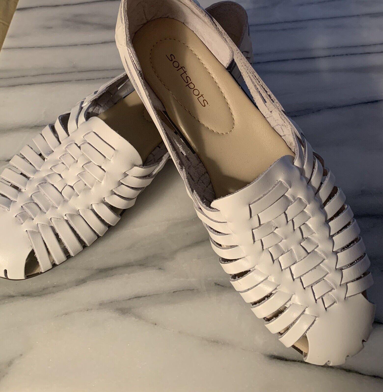 Softspots Huarache Sandals Comfort Flats Woven Leather Boho White 10 Summer NEW