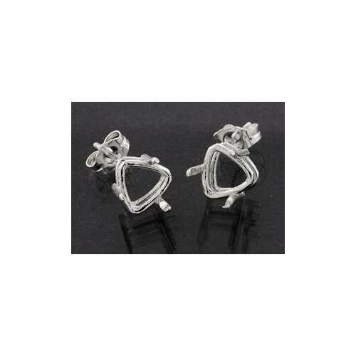 (4mm - 12mm) Trillion Side-Set Solid Sterling Silver Cast Earring Settings