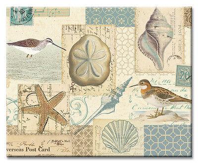 Beach Shells & Shore Birds 12 x 15 Tempered Glass Cutting Board Coastal Decor