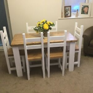 Details About Rustic Shabby Chic Farmhouse Dining Table And 6 Chairs