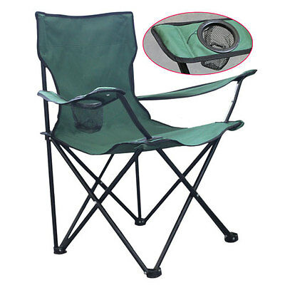 Foldable Chair Seat with Cup Holder Beach Garden Camping Fishing Outdoors Green